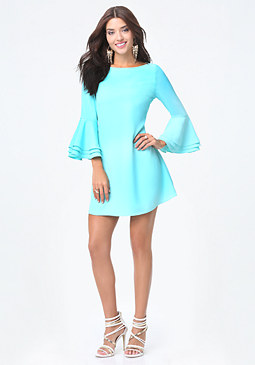bebe Trumpet Sleeve Shift Dress