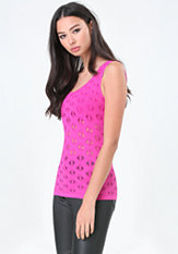 bebe Diamond Stitch Scoop Top
