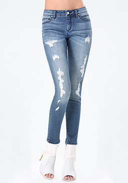 bebe Logo Destroyed Skinny Jeans