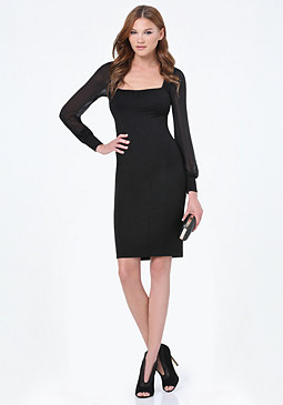 bebe Chiffon Sleeve Seamed Dress