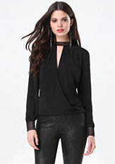 bebe Back Tie Mock Neck Top