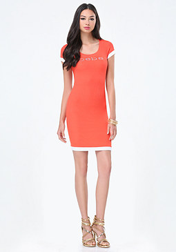 bebe Logo Colorblock Mini Dress
