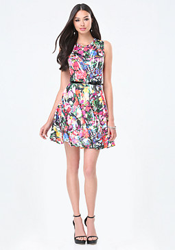 bebe Print Scuba Belted Dress