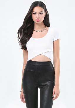 bebe Crossover Hem Crop Top