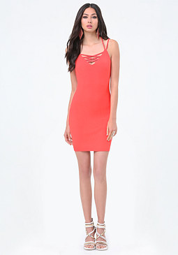 bebe Logo Crisscross Mini Dress