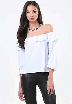 bebe Ruffle Bare Shoulder Top