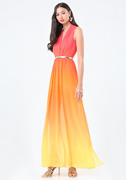 bebe Ombre High Slit Gown