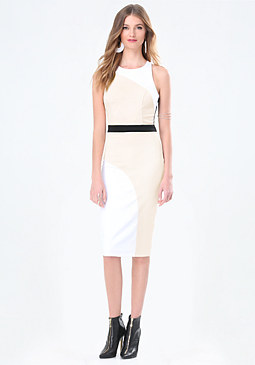 bebe Curve Colorblock Midi Dress