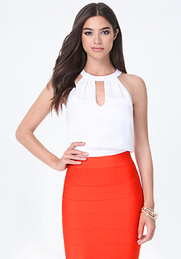 bebe Back Tie Cutout Top