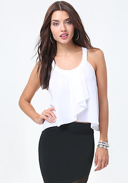 bebe Pleated Wrap Front Top