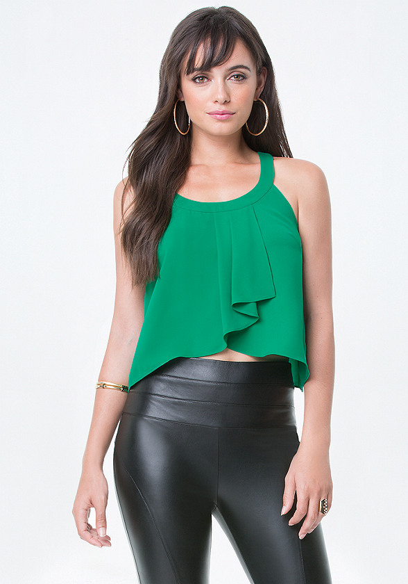 Pleated Wrap Front Top