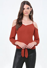 bebe Cold Shoulder Tie Top