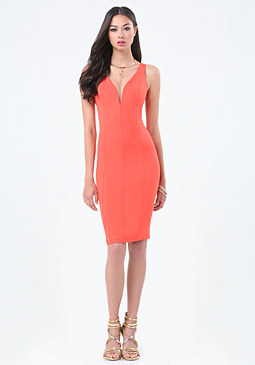 bebe Seamed Plunge Neck Dress