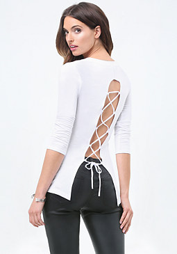 bebe Logo Open Back Lace Up Top