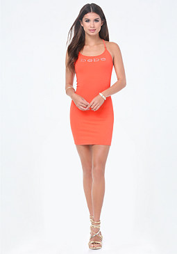 bebe Logo Strappy Mini Dress
