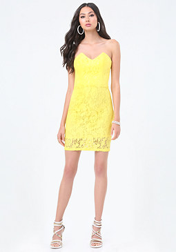 bebe Betty Lace Strapless Dress