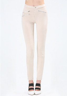 bebe Faux Suede Zip Pants