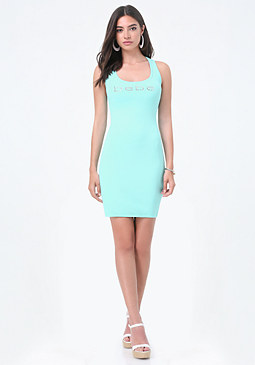 bebe Logo Crossback Tank Dress