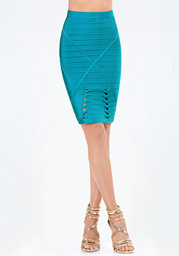 bebe Twist Detail Bandage Skirt
