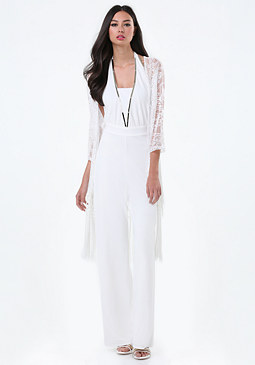 bebe Lace Knot Fringe Cover Up