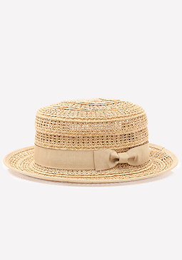 bebe Straw Boater Hat