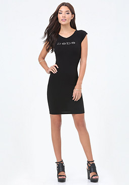 bebe Logo Back Crisscross Dress