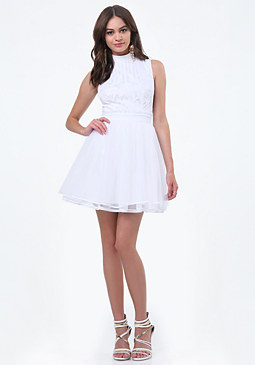 bebe Laser Cut Applique Dress