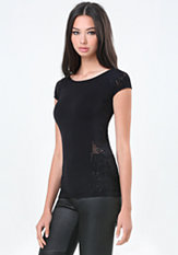 bebe Evie Lace Detail Top