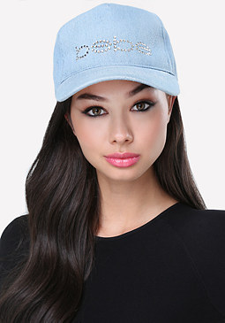 bebe Logo Denim Baseball Cap
