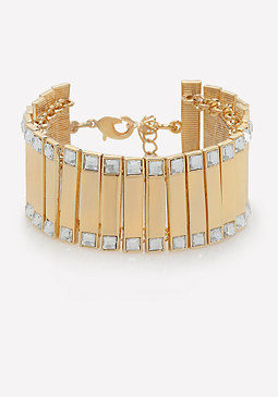 bebe Crystal Metal Bar Bracelet