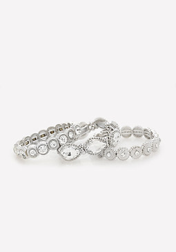 bebe Glitzy Stretch Bracelet Set