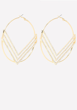 bebe Pave Chevron Hoop Earrings