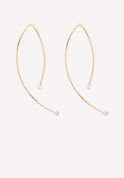 bebe Thin Crystal End Earrings
