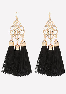 bebe Filigree & Tassel Earrings