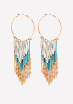 bebe Color Fringe Hoop Earrings
