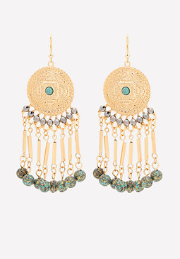 bebe Bead Fringe Disc Earrings