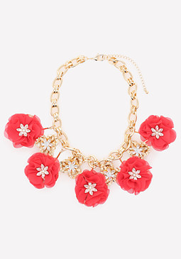 bebe Crystal Poppy Necklace