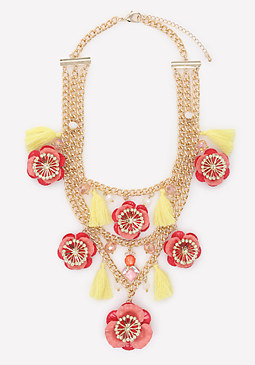 bebe Poppy & Tassel Necklace