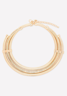 bebe 3-Row Coil Collar Necklace