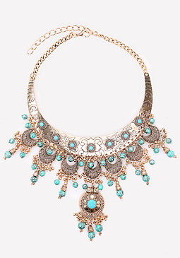 bebe Beaded Filigree Necklace