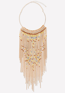 bebe Beaded Fringe Necklace