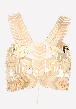 bebe Metal Chevron Body Chain