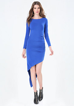 bebe Ruched Asymmetric Dress