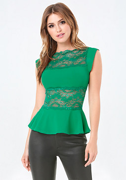 bebe Lace Panel Peplum Top