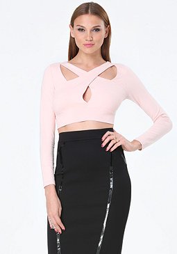 bebe Cutout Crisscross Crop Top