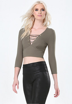 bebe 3/4 Sleeve Lace Up Crop Top