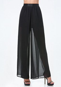 bebe Front Slit Wide Leg Pants