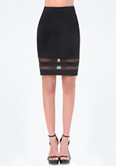 bebe Mesh Inset Pencil Skirt