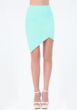 bebe Mix Fabric Asymmetric Skirt