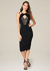 bebe Double Strap Midi Dress